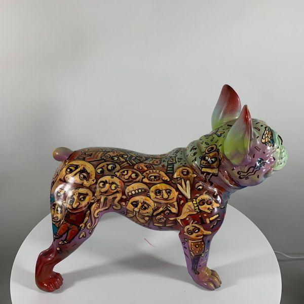 Hand Painted Bull Dog Sculpture
